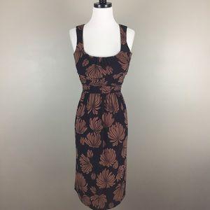Nine West Floral Midi Dress Scoop Retro Brown Fall